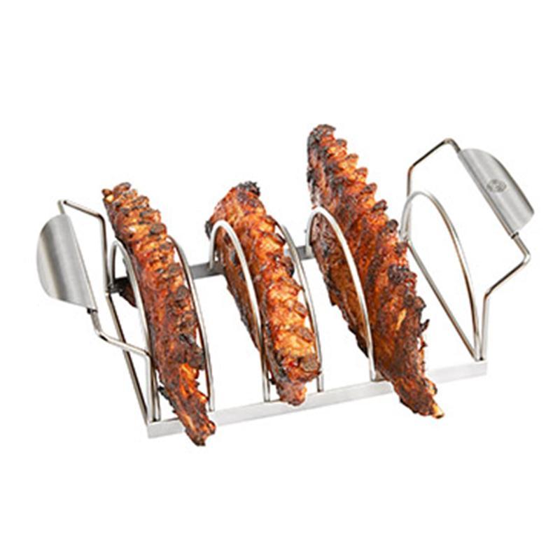 bbq spare rib halter aus edelstahl gefu f r 6 spare ribs bratenhalter grill ofen eur 24 48. Black Bedroom Furniture Sets. Home Design Ideas