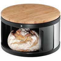 WMF Brottrommel rund m. Schiebetür mit Bambus Schneidbrett Brotkasten Brotbox