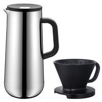 WMF Impulse Isolierkanne für Kaffee 1 Liter Edelstahl mit Kaffeefilter schwarz