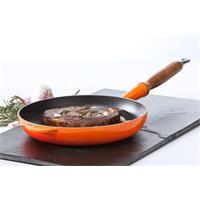 Le Creuset Bratpfanne flach 28 cm ofenrot mit Holzgriff