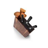 Continenta Messerblock mit flexiblem Einsatz und integriertem Utensilienbehälter Walnussholz 31 x 8