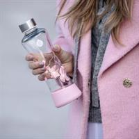 Equa Urban Jungle Magnolia Trinkflasche aus Glas 550 ml mit Silikonboden