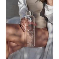 Equa Mismatch Sand Sky Trinkflasche aus Glas 750 ml mit Filzcover und Lederschlaufe