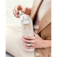 Equa Mismatch Beige Trinkflasche aus Glas 750 ml mit Kunstlederhülle und Metalltragegriff