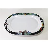 Tettau Hundertwasser Platte 35cm oval König der Antipoden 3833