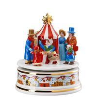 Hutschenreuther Weihnachtsmarkt Spieluhr groß XXL 15,5cm Lieduhr Porzellan 15,5 cm