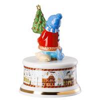 Hutschenreuther Weihnachtsmarkt Spieluhr klein 9cm Lieduhr Porzellan 9 cm