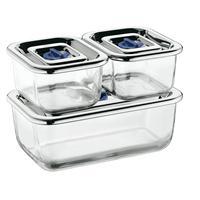 WMF Top Serve 3 teilig Frischhaltedosen Glas TopServe Edelstahldeckel