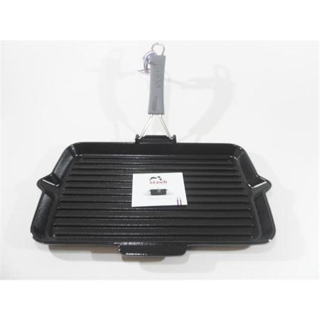 staub grillpfanne 34 x 21 cm silikon klappgriff gusseisen induktion schwarz. Black Bedroom Furniture Sets. Home Design Ideas