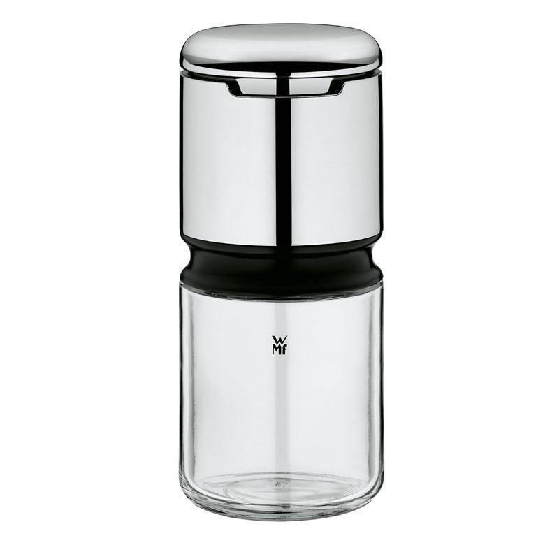 WMF Depot Pfeffermühle Salzmühle Gewürzmühle verchromter Kopf unten Glas