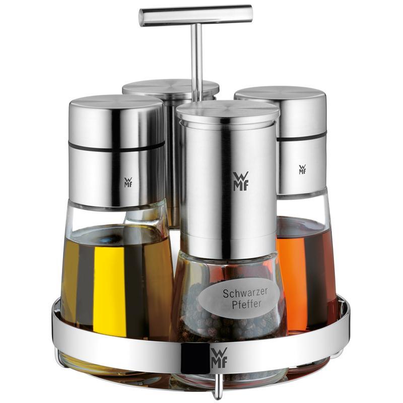 WMF Ceramill de Luxe Menage Essig Öl Gewürzmühlen  Edelstahl Glas schick
