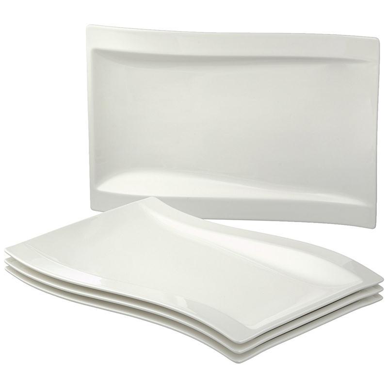 set 4 gourmetteller 37 x 25 cm v b new wave teller rechteckig platte eckig ebay. Black Bedroom Furniture Sets. Home Design Ideas