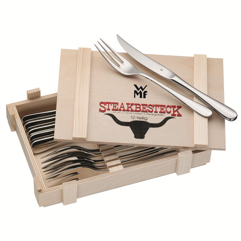 WMF Steakbesteck 12 tlg.für 6 Personen  poliert Holzkassette