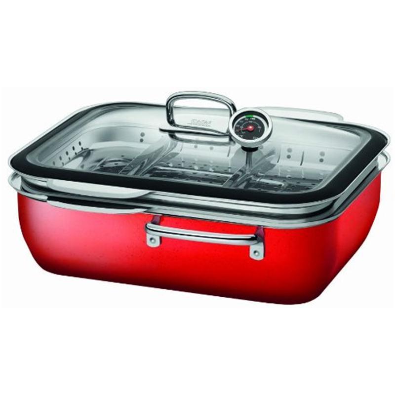 Silit Dampfgarer 34 cm ecompact Professional Energy Red mit Deckel und Einsatz