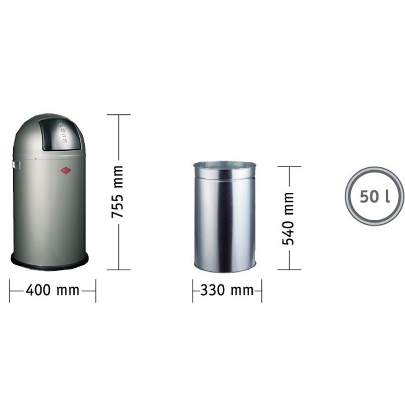wesco pushboy m lleimer 50 liter graphit abfalleimer metall grau metallleinsatz ebay. Black Bedroom Furniture Sets. Home Design Ideas