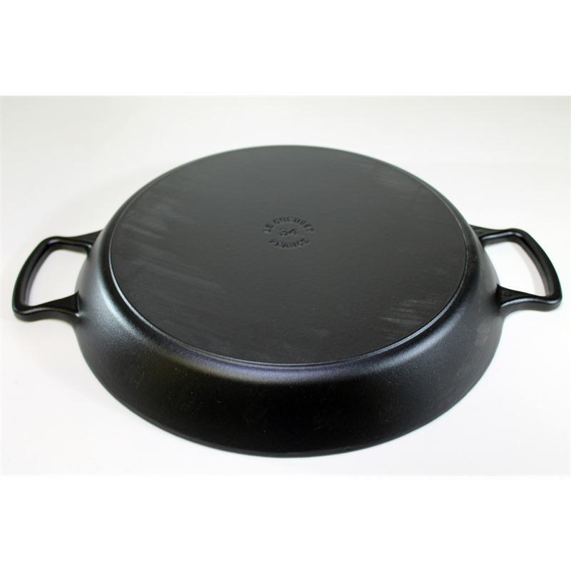 le creuset paella pfanne 34 cm schwarz gusseisen induktion paellapfanne servier. Black Bedroom Furniture Sets. Home Design Ideas