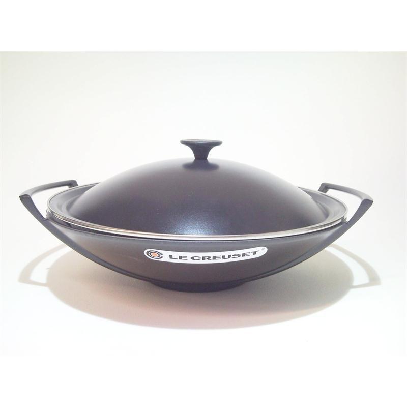 le creuset wok set 36 cm schwarz. Black Bedroom Furniture Sets. Home Design Ideas