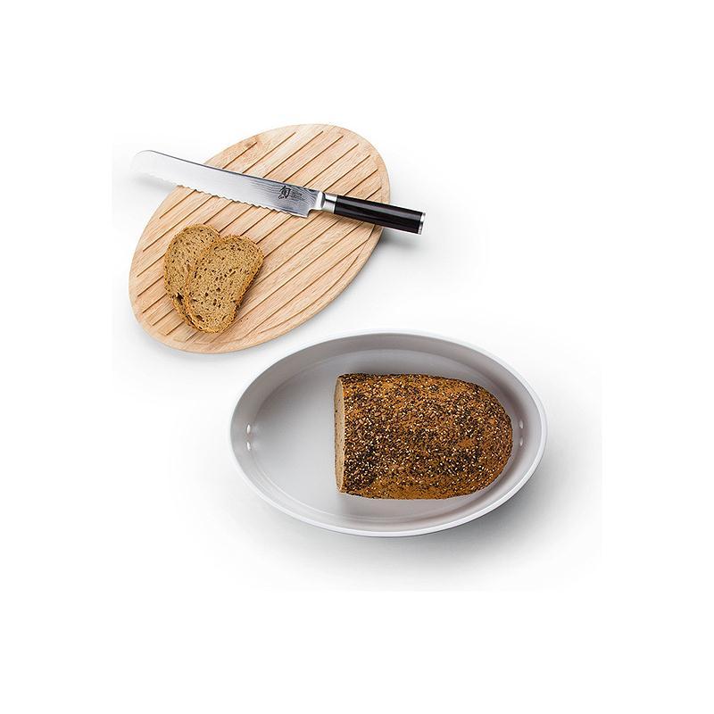 Continenta Brottopf weiß oval mit Holzdeckel 30 x 23 x 13,5 cm Brot Schneidebrett