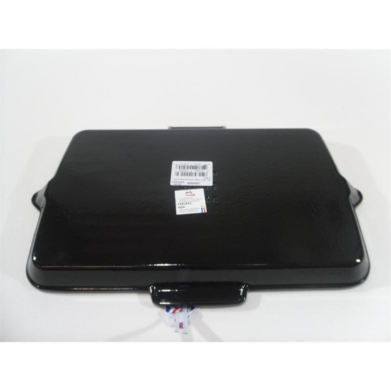 Staub Grillpfanne 34 x 21 cm Silikon Klappgriff Gusseisen Induktion schwarz
