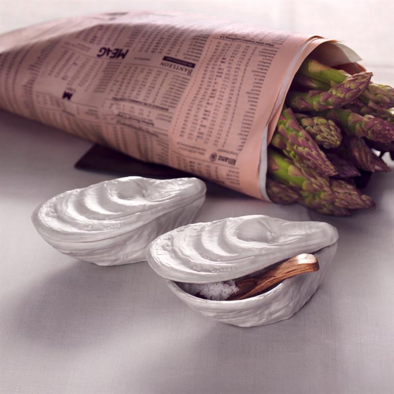 Rosenthal Auster Platin titanisiert Set 3-tlg. Dose mit Salzflakon und Holzlöffel