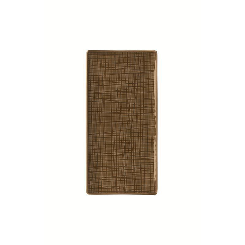 Rosenthal Mesh Walnut Platte flach 26x13cm braun