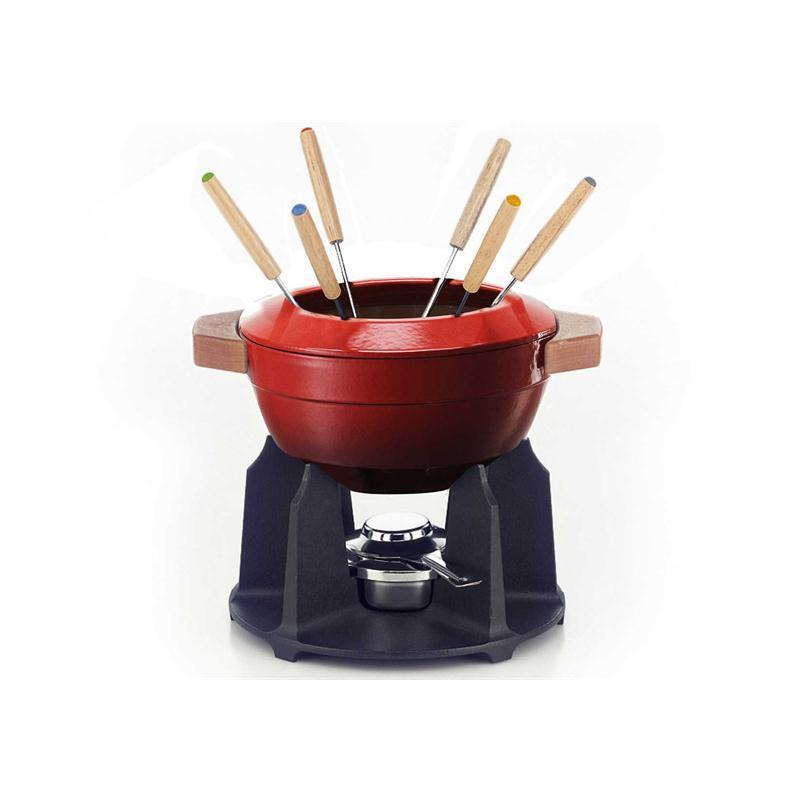 le creuset fondue set kirschrot gusseisen rechaud gabeln induktion. Black Bedroom Furniture Sets. Home Design Ideas