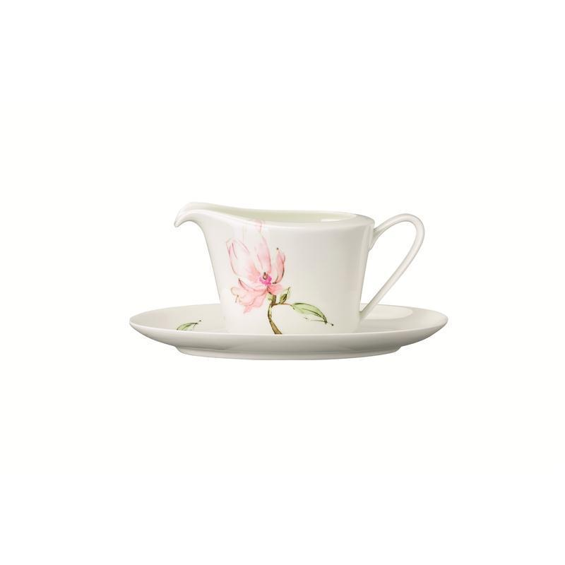 Rosenthal Jade Magnolie Sauciere 2 tlg. 0,45ltr.m.Unterteller 24x15 cm